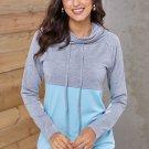 Gray Blue Color Block Thumbhole Sleeved Sweatshirt