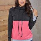 Charcoal Pink Color Block Thumbhole Sleeved Sweatshirt