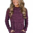 Purple Heathered Kangaroo Pocket Sweatshirt