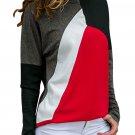 Red Color Block Round Collar Sweatshirt