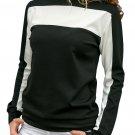 Black Color Block Round Collar Sweatshirt