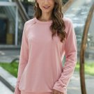 Gold Zip Detail Pink Pullover Sweatshirt