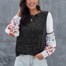 Black Contrast Printed Sleeve Knit Sweatshirts