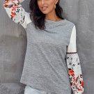 Gray Contrast Printed Sleeve Knit Sweatshirts