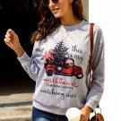Christmas Car Letters Print Pullover Sweatshirt