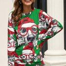 Green Ugly Christmas Cartoon Print Sweatshirt