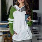 Olive Varsity Striped Sleeves Double Hooded Sweatshirt