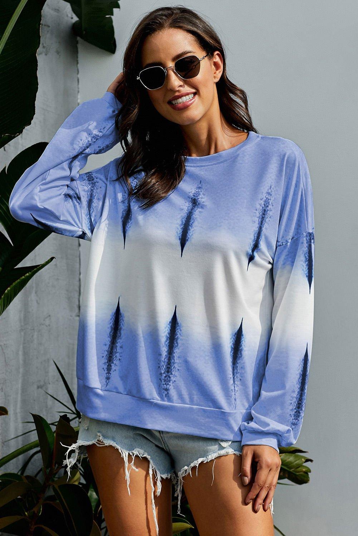 Sky Blue Color Block Tie Dye Pullover Sweatshirt
