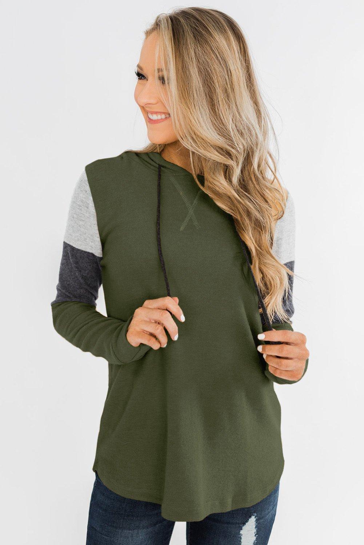 Green Color Block Patchwork Long Sleeve Hoodie