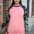 Pink Crewneck Camo Print Long Sleeve Sweatshirts