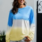 Blue Color Block Tie Dye Pullover Sweatshirt