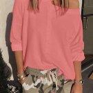 Pink Cut Out Shoulder Sweatshirt