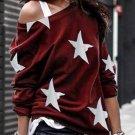 Five Pointed Star Print Round Neck Red Sweatshirt