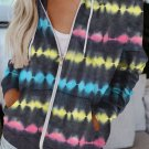 Black Tie Dyed Zipper Pocket Drawstring Hooded Jacket