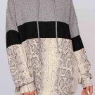 Grey Long Sleeve Snakeskin Print Color Block Hoodie