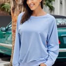 Sky Blue French Terry Cotton Blend Pullover Sweatshirt