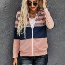 Pink Striped Color Block Drawstring Zip Front Hoodie