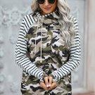 Camo and Stripe Mixed Print Hoodie