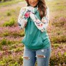Floral Raglan Sleeve Kangaroo Pocket Hoodie