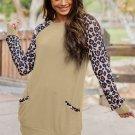 Apricot Leopard Long Sleeve Pocket Sweatshirt