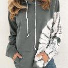 Gray Oversized Pocket Front Print Sweatshirt Drawstring Hoodie
