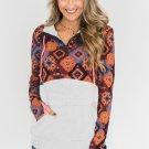 Orange Boho Print Color Block Patchwork Zip Collar Sweatshirt