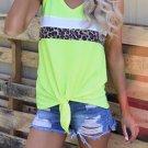 Neon Green Leopard Striped Patchwork Sleeveless