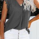 Gray Sleeveless Crochet Lace Blouse