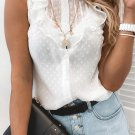 White Flounced Collar Buttoned Dotted Print Tank Top
