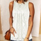 White Lace Hollow Out Sleeveless T Shirt