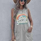 Stay golden Letters Graphic Tank with Pockets