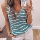 Blue Striped V Neck Sleeveless Knitted Tank Top