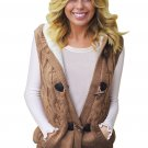 Khaki Cable Knit Hooded Sweater Vest