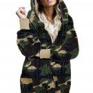 Green Camo Print Soft Fleece Hooded Open Front Coat