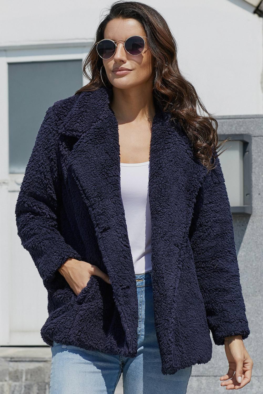 Navy Fleece Open Front Coat with Pockets