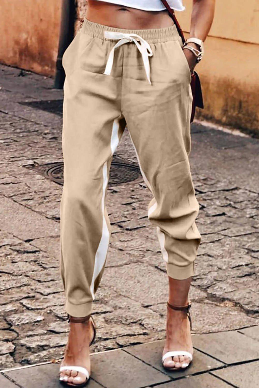 Khaki Casual Striped Drawstring Pants