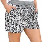 White Leopard Print Drawstring Waist Shorts