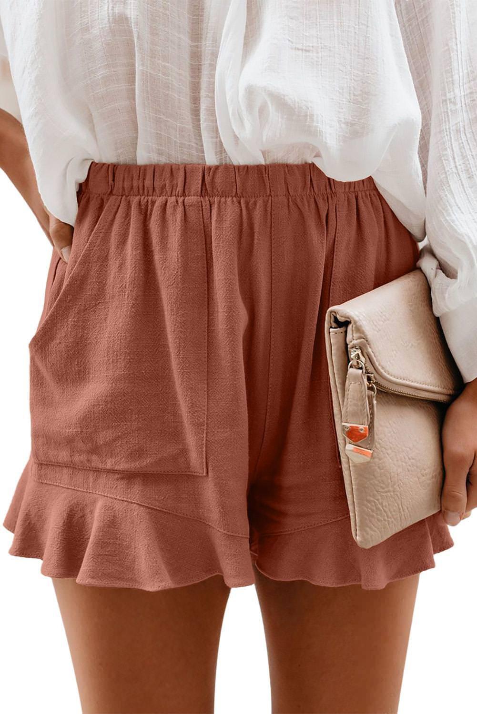 Rust Red Linen Cotton Pocketed Flutter Shorts