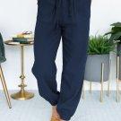 Blue Drawstring Elastic Waist Joggers with Pockets