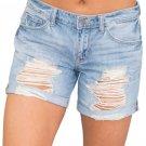 Rolled Cuffs Distressed Denim Shorts