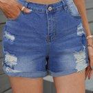 Folded Hem Ripped High Waist Jean Shorts