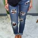 Blue Floral Patch Destroyed Skinny Jeans