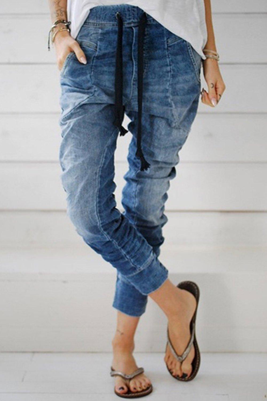 Light Blue Drawstring Elastic Waist Jogger Jeans