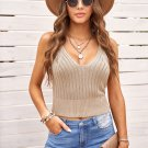 Apricot V Neck Ribbed Knitted Crop Top