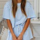 Sky Blue Stripe Print T Shirt and Elastic Waist Shorts Set