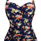 Floral Cluster Printed Halter Ruched Plus Size Monokini