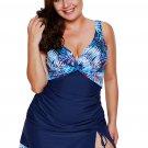 pcs Tropical Print Detail Navy Blue Bathing Suit
