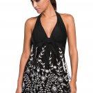 Black Botanical Print Fluttering Layered Tankini Swimsuit
