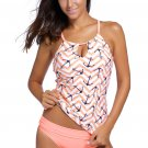Chic Anchor Print Pink Two Pieces Tankini Swimsuit