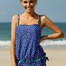 Blue Dotted Print Tankini Swimwear